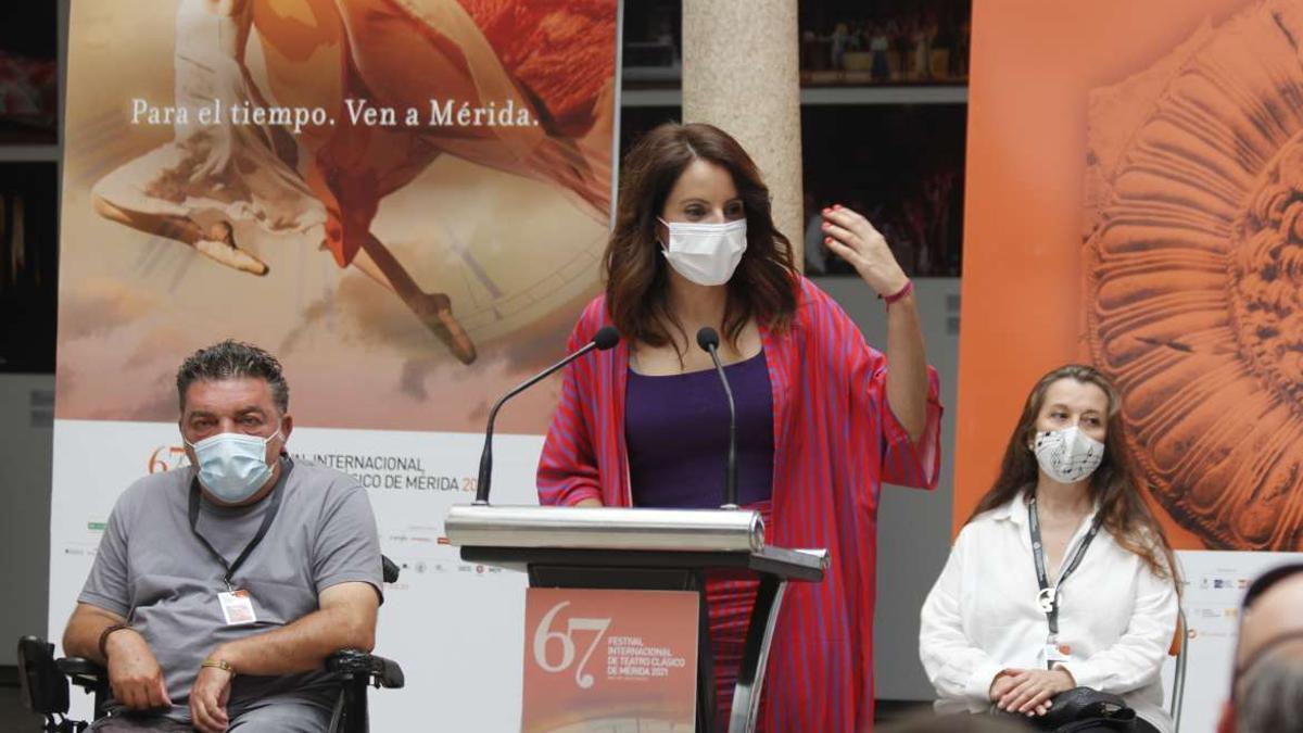 La consejera de Cultura de Extremadura, Nuria Flores, este lunes en Mérida