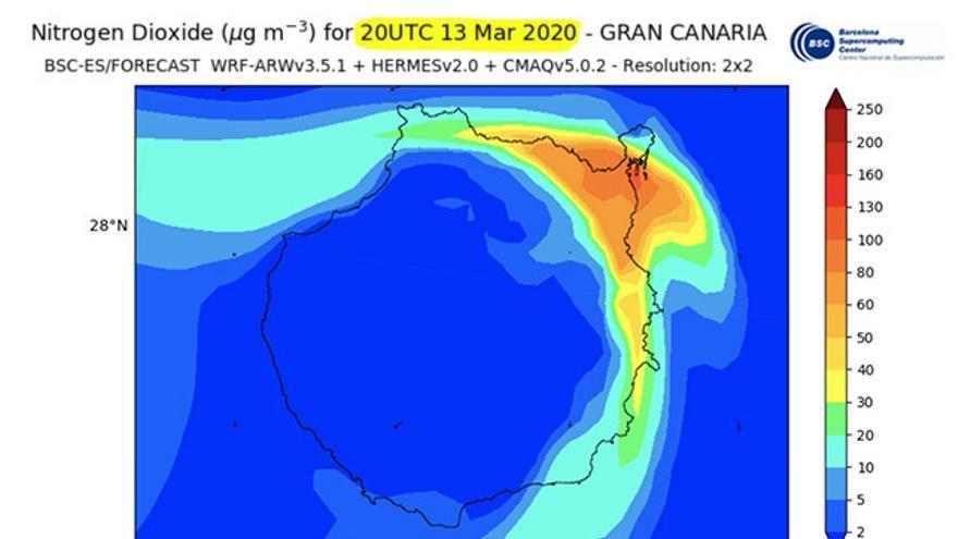 Niveles de dióxido de nitrógeno en Gran Canaria el 13 de marzo, antes de que se declarara el Estado de Alarma, y este viernes 20 de marzo. Fuente: Centro Nacional de Supercomputación de Barcelona.