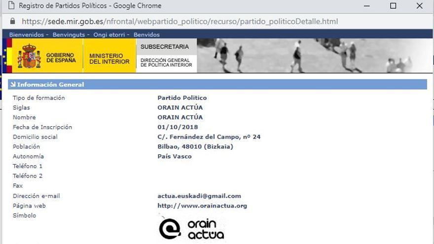 ficha del registro de partido Oráin Actúa.