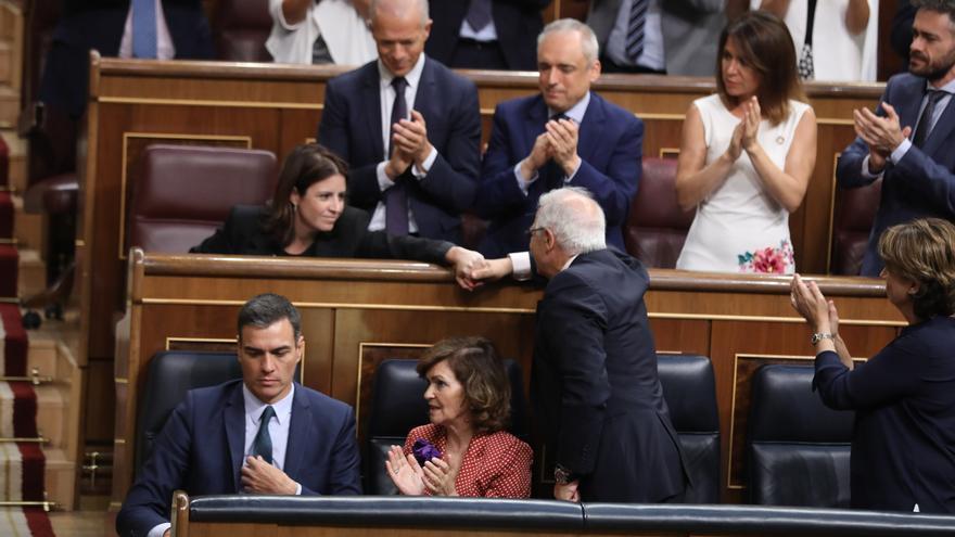 La bancada del PSOE en la segunda votación de investidura.
