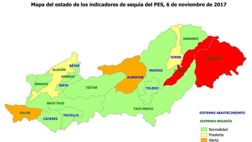 Estado de la cuenca del Tajo. En rojo, en emergencia. En naranja, en alerta