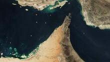 Imagen satélite del estrecho de Ormuz, en el Golfo Pérsico.