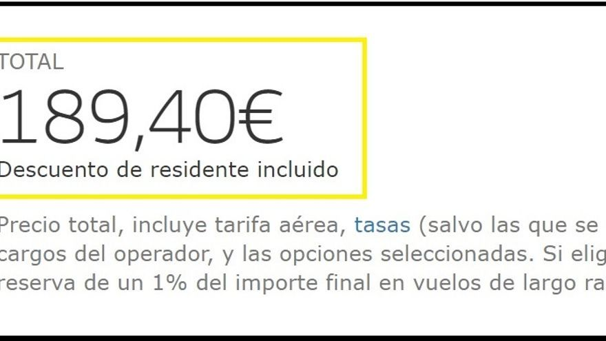 Precio Final de un billete Santa Cuz de La Palma- Madrid en tarifa Turista.