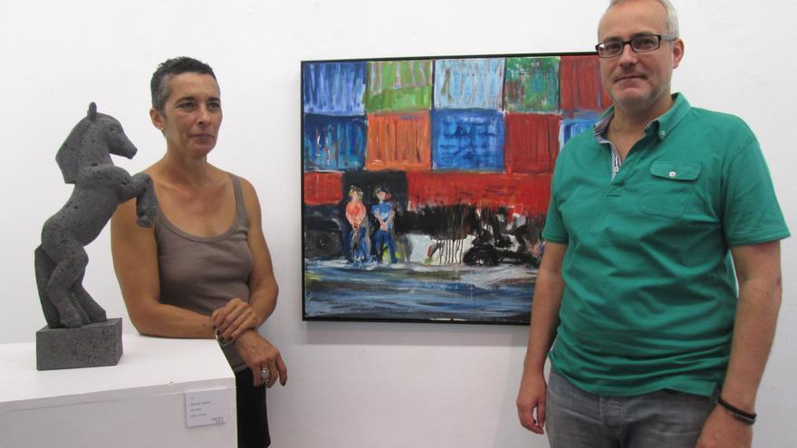 En la imagen, PG y Francis Triana en la exposición. Foto: LUZ RODRÍGUEZ
