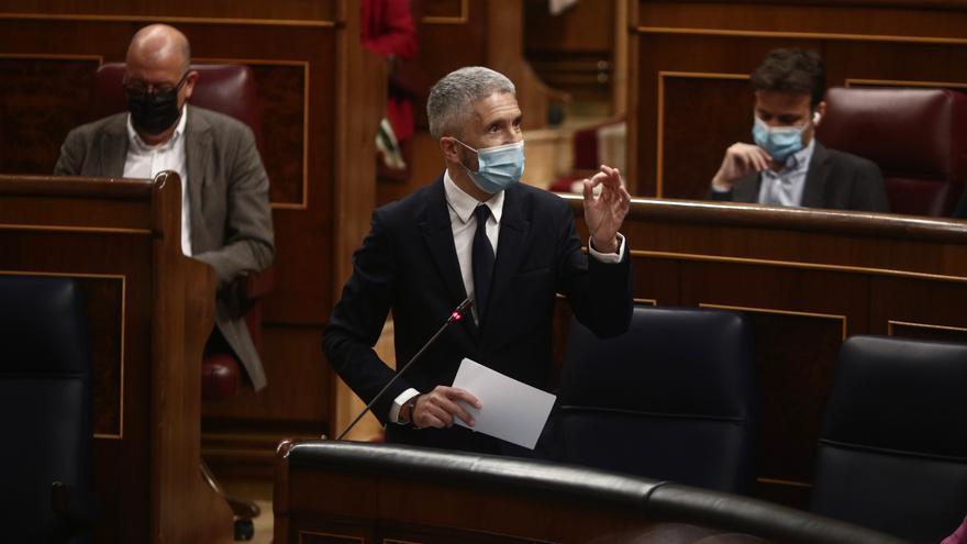 El ministro del Interior, Fernando Grande-Marlaska, en una intervención en el Congreso