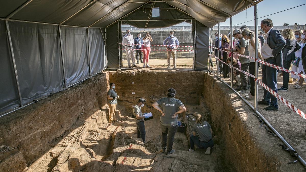 Trabajos de exhumación de la fosa común de Pico Reja, una de las mayores fosas del franquismo, en el cementerio de San Fernando (Sevilla).  