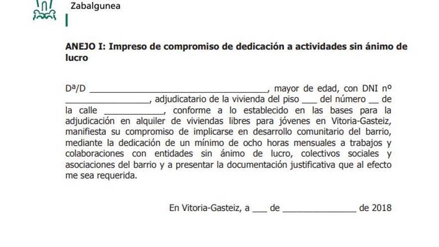 Impreso a firmar por las personas adjudicatarias de viviendas de Ensanche 21