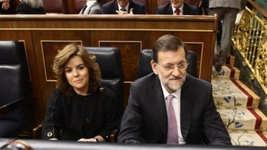 Soraya Sáenz De Santamaría Y Mariano Rajoy, En El Banco Azul
