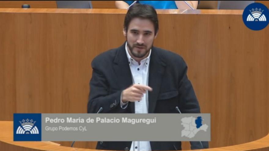 Pedro María de Palacio durante una intervención en el Parlamento de Castilla y León como diputado de Podemos