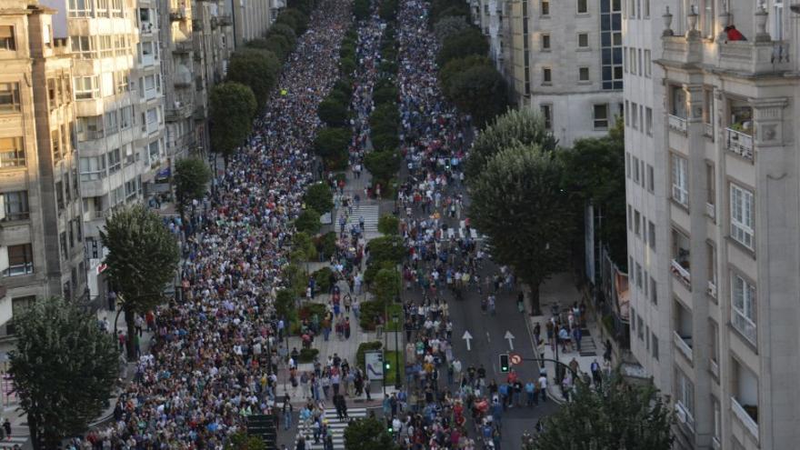 Vista de la manifestación en defensa de la sanidad pública en Vigo / CIG