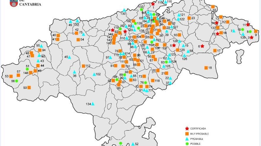 Mapa de fosas comunes de Cantabria.