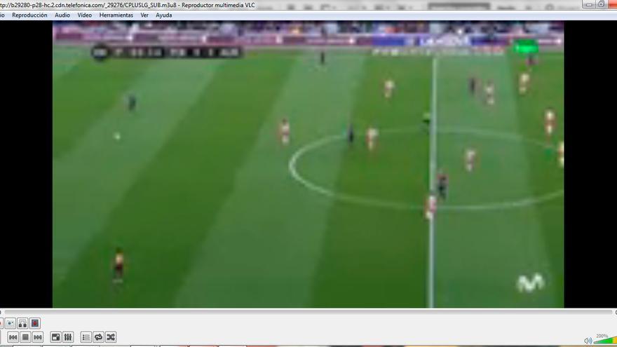 Captura de pantalla de la emisión en 'streaming' de Canal + Liga (Foto: Hoja de Router)