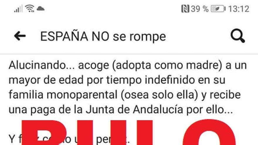 """La Junta de Andalucía no ha otorgado """"una paga"""" a una mujer española por acoger en su casa a un joven extranjero"""