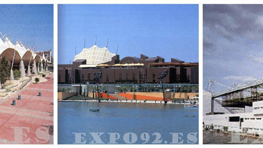 El mítico Palenque, la plaza de América y el Auditorio de la Cartuja. / LEGADO EXPO