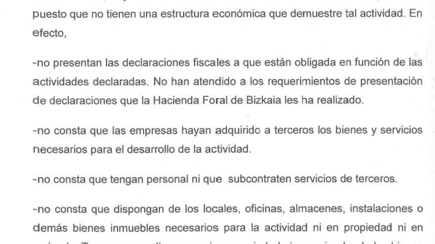 Informe de la Hacienda de Bizkaia sobre delitos fiscales en el 'caso De Miguel'