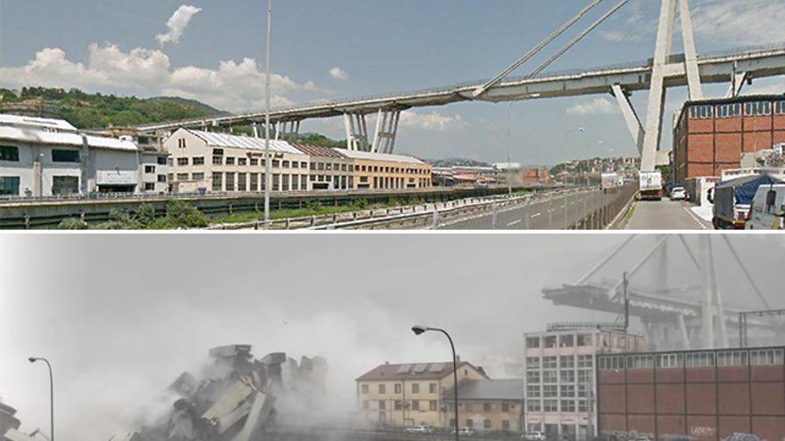 Aspecto de la autopista de Génova (Italia), antes del derrumbe y después