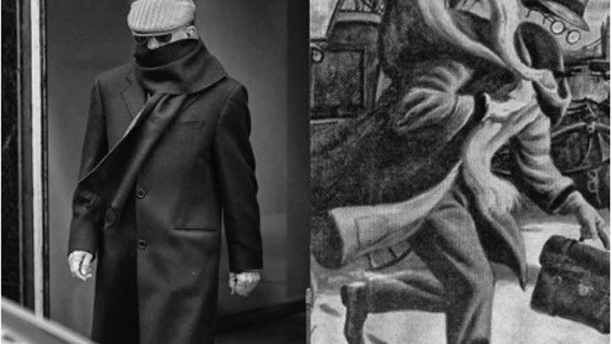 """A la Izquierda, Billy el niño a su salida de la Audiencia Nacional en Madrid, el pasado 5 de diciembre (Álvaro Minguito). A la derecha, portada original del comic  de """"Classics Illustated"""", """"The invisible man"""", del año 1959 (Geoffrey Biggs)."""