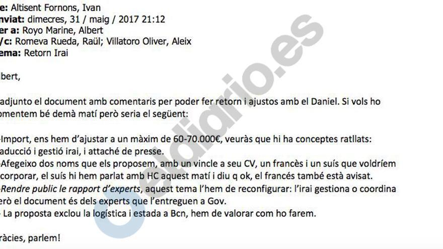 Los correos del Govern para contratar a observadores del 1-O: