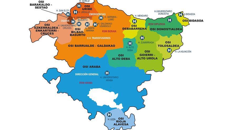 Mapa de la división territorial del Servicio Vasco de Salud (Osakidetza)