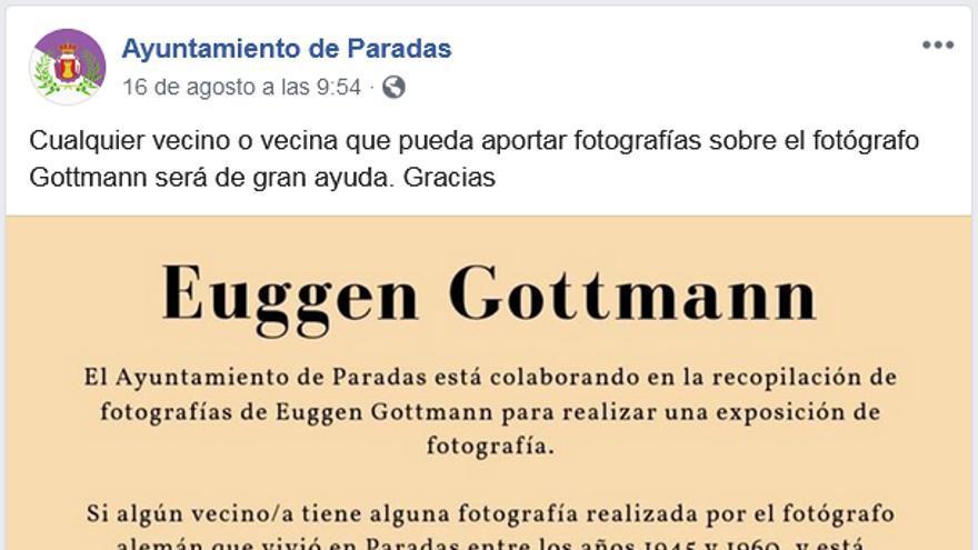 Anuncio del Ayuntamiento de Paradas para organizar la exposición del nazi Eugen Gottmann.