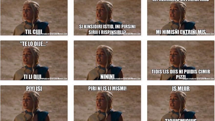 Memes que usan la letra 'i' y la imagen del personaje de Khaleesi en Juego de Tronos.