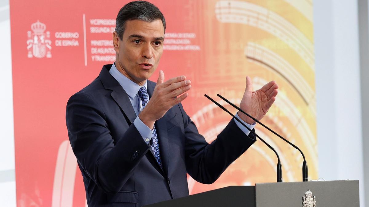 Pedro Sánchez interviene durante la presentación de la Carta de Derechos Digitales. EFE/Chema Moya