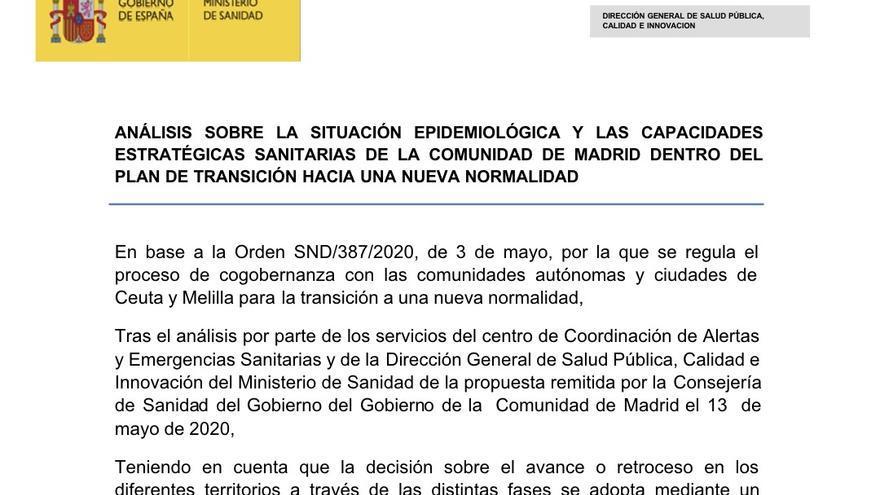 El informe oficial del Gobierno le pide a Madrid más capacidad de pruebas PCR y más control en las residencias
