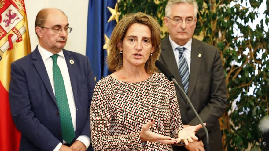 Teresa Ribera, ministra en funciones para la Transición Ecológica, en su comparecencia ante los medios en Zaragoza