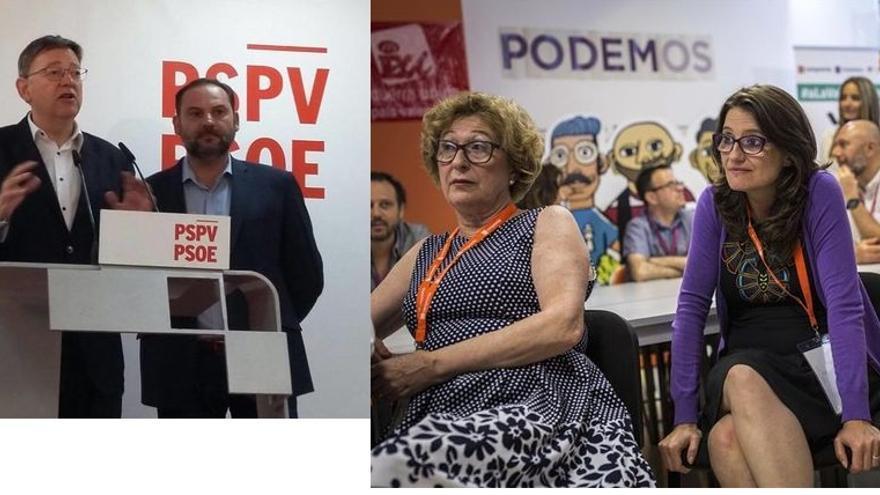 Ximo Puig (izquierda) y Mónica Oltra (derecha) tras conocerse los resultados de las elecciones generales del 26 de junio.