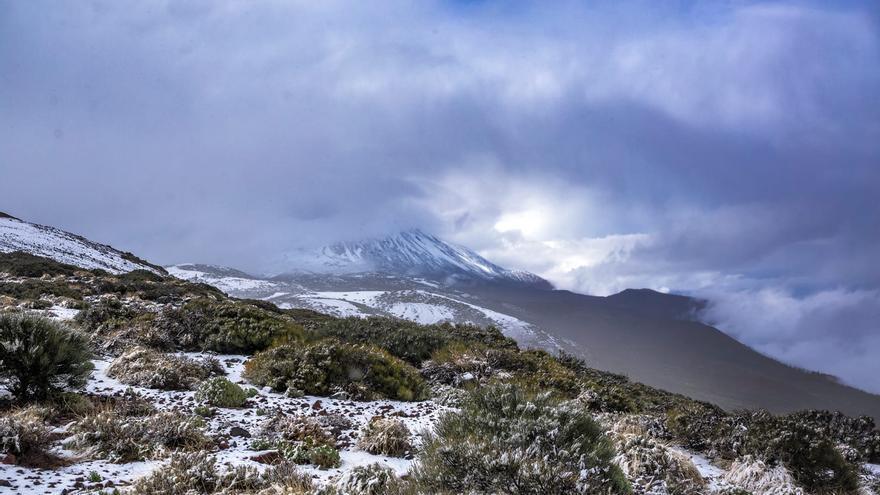 Vista de esta mañana de lunes del parque nacional del Teide