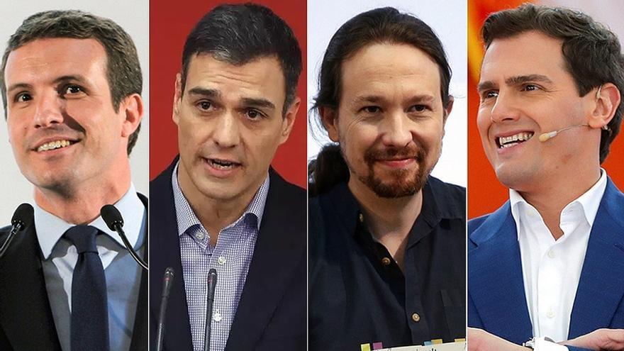 Sánchez, Casado, Iglesias y Rivera celebrarán este lunes su primer debate electoral, en RTVE