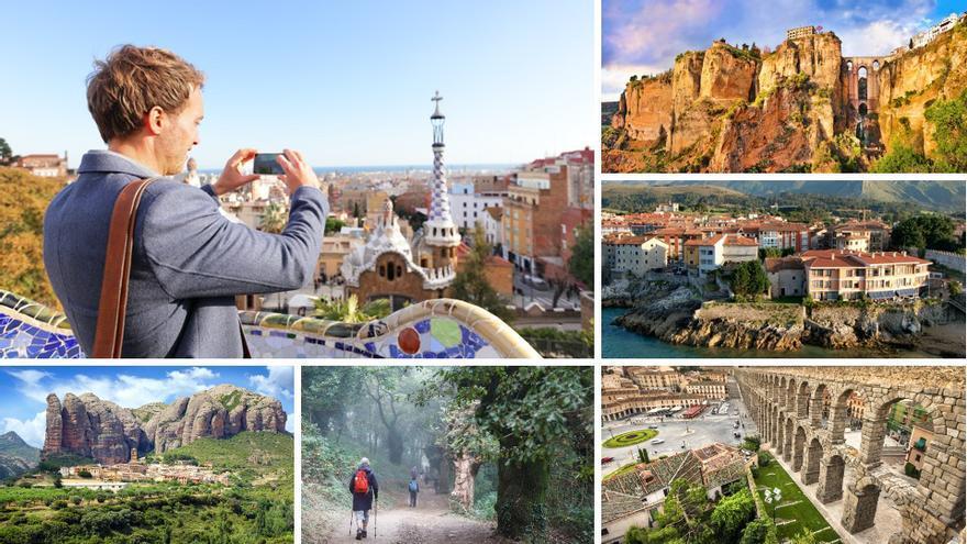 Imágenes representativas de turismo nacional: Barcelona, Ronda (Málaga), Llanes (Asturias), las montañas de Agüero (Huesca), el camino de Santiago (Galicia) o Segovia.