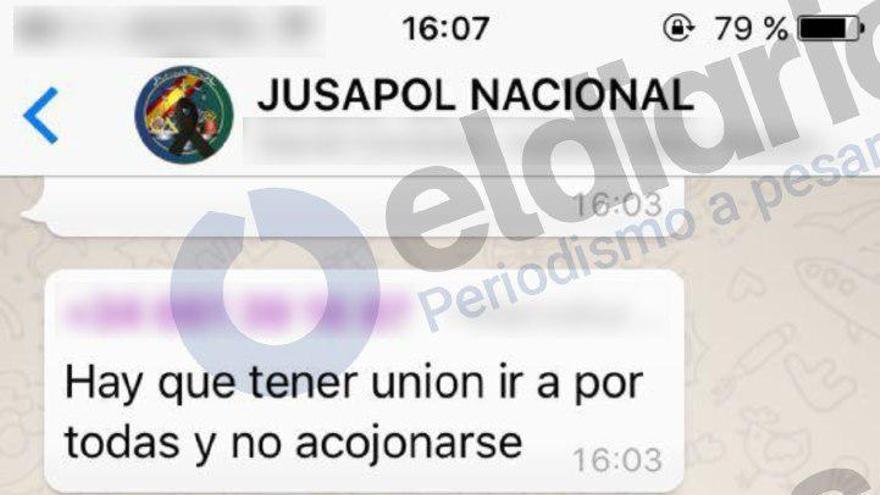 Mensaje vertido en el chat Jusapol