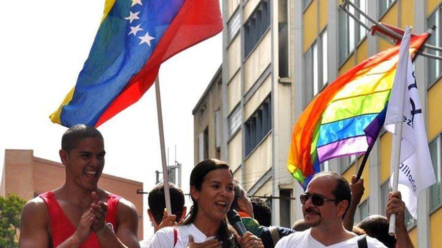 Marcha por la Igualdad 2014 en Caracas. En la izquierda, Koddy Campos./ ACVenezuela Igualitaria