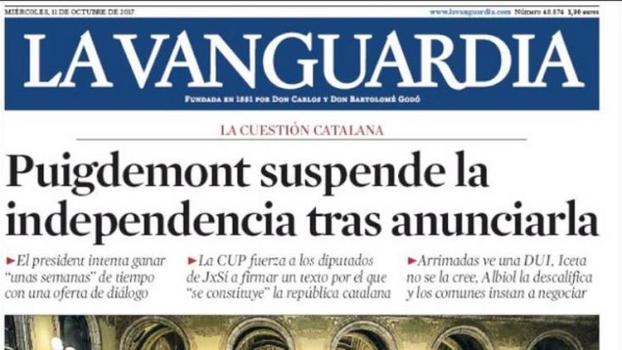 La portada de La Vanguardia del 11 de octubre de 2017.