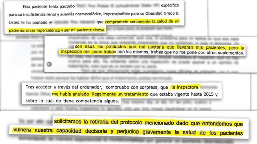Fragmentos de cartas de quejas de médicos del Servicio Canario de Salud.