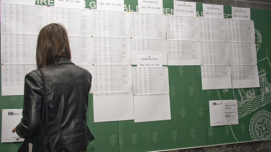 Una demandante comprueba el estado de su solicitud.| IRENE OLMO