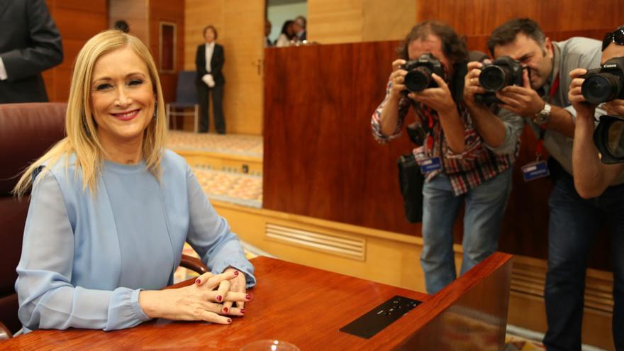 La presidenta de la Comunidad de Madrid, Cristina Cifuentes, antes del debate