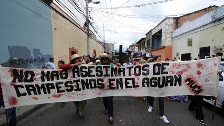 Protesta contra la impunidad y los asesinatos de campesinos en Honduras.