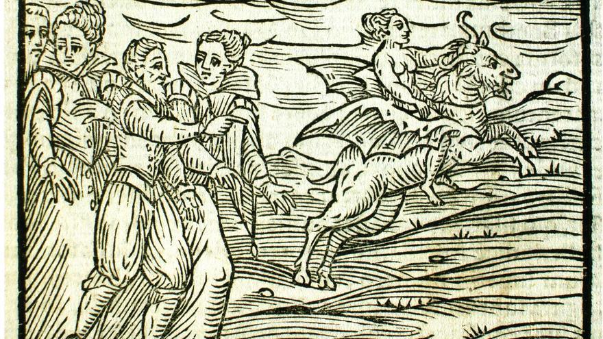 Un grabado sobre brujas de los manuales