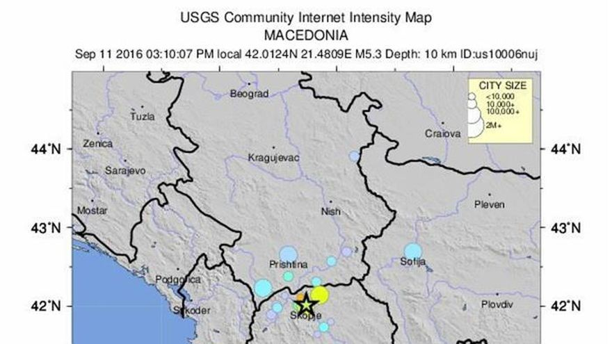 Un terremoto de 5,2 grados sacude Skopje causando daños pero no víctimas