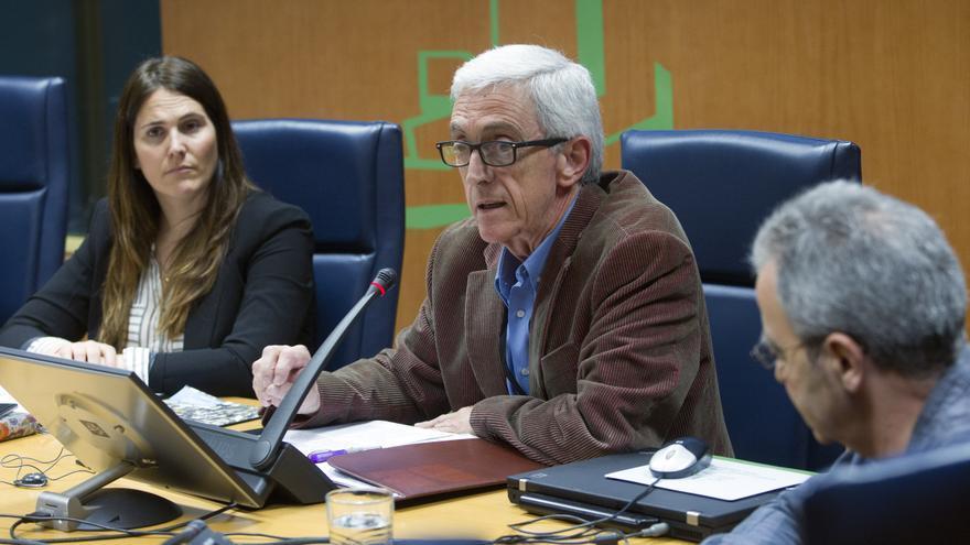 El portavoz de la Plataforma, en el comparecencia en el Parlamento vasco. Foto/ Parlamento vasco