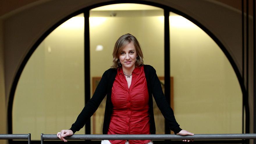 Tania Sánchez, en la cúpula sobre el Hemiciclo del Congreso de los Diputados