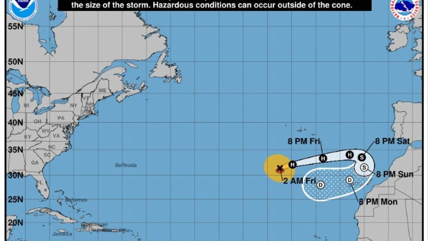 Previsión de la evolución del ciclón tropical Leslie publicado por la Agencia Nacional de Huracanes de Miami.