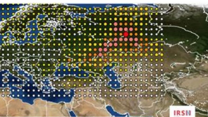 Nube radiactiva de 2017, según las mediciones del IRSN, el instituto francés de seguridad nuclear