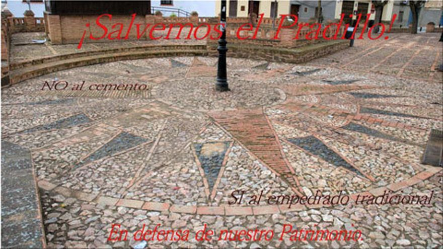 Cartel pidiendo que se respete la estructura de la Plaza del Pradillo. Viso del Marqués (Ciudad Real)