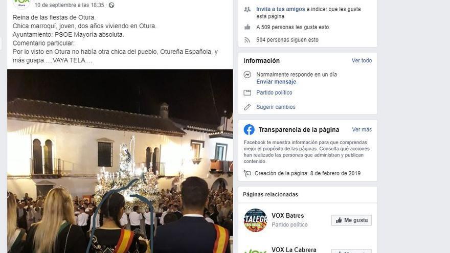 Publicación en Facebook de Vox Otura (Granada)