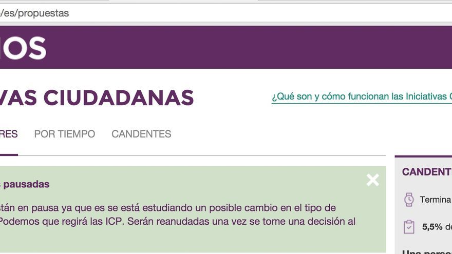 Web de iniciativas ciudadanas de Podemos.