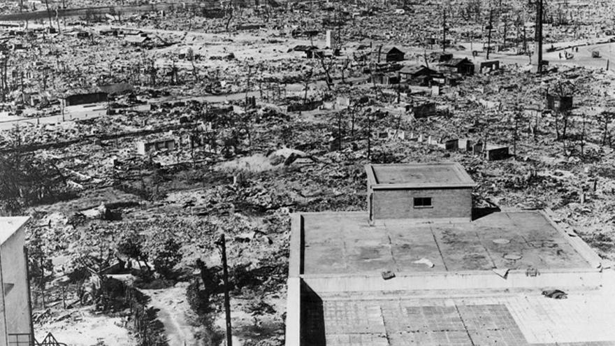 Aspecto de la ciudad tras la bomba atómica