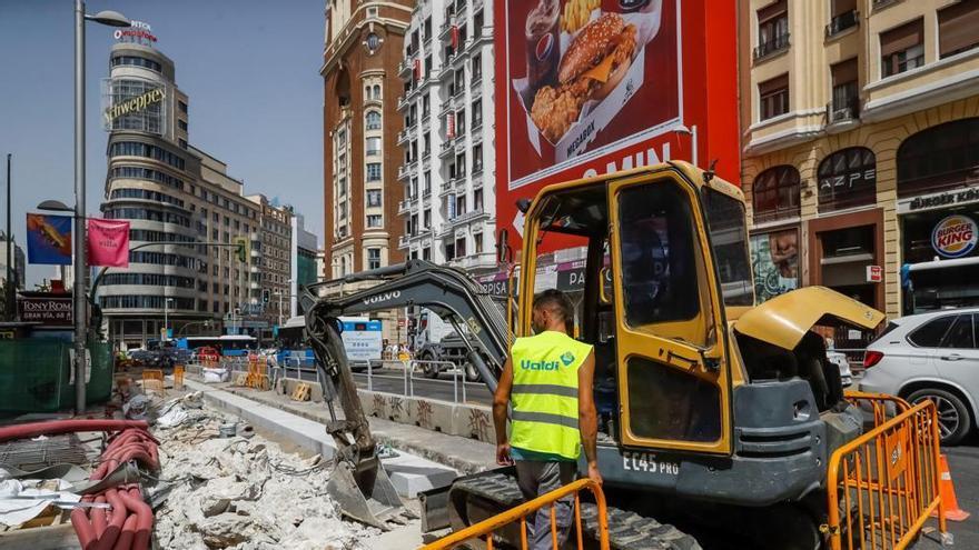 Obras en Gran Vía, Madrid. / Efe